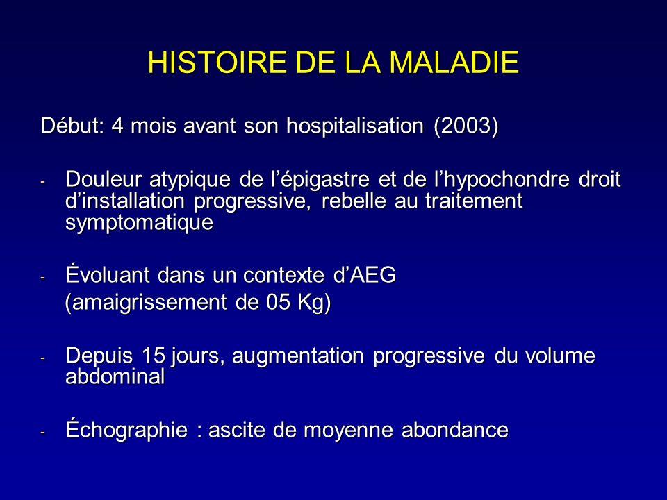 Examen Physique à ladmission - État général moyen, OMS 1, BMI 21, anictérique - CVC - Hépatomégalie ferme(FH18 cm) à bord inférieur mousse - Ascite de moyenne abondance - Pas de splénomégalie