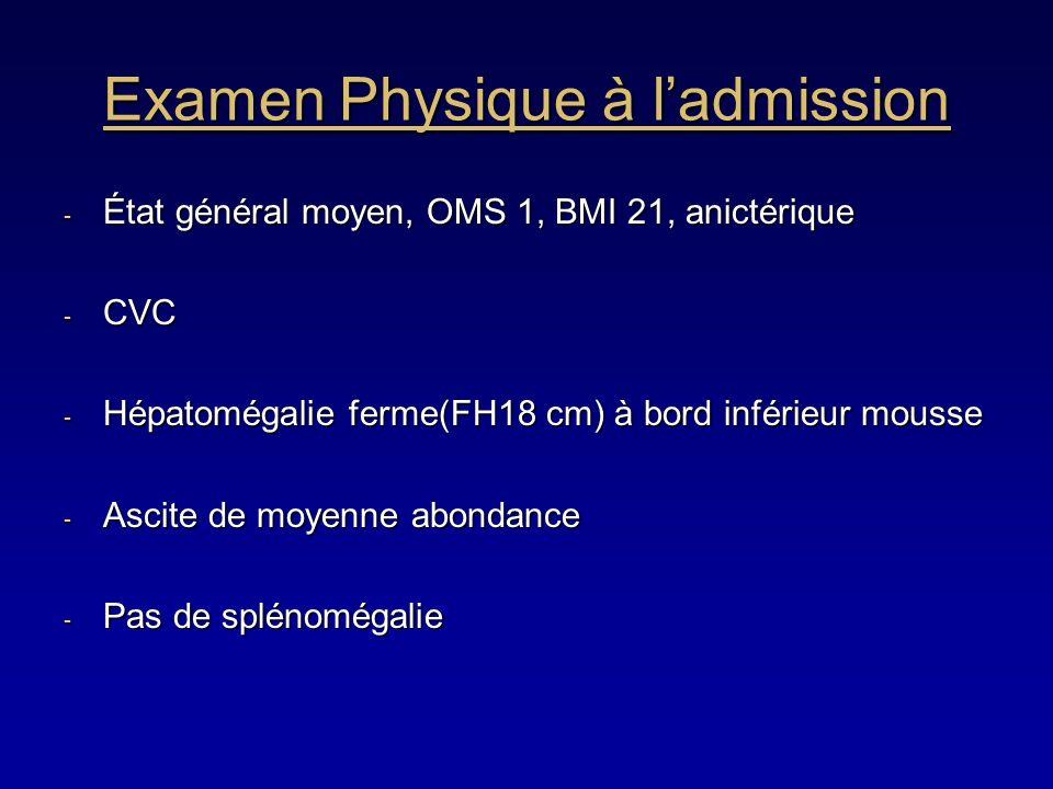 Examen Physique à ladmission - État général moyen, OMS 1, BMI 21, anictérique - CVC - Hépatomégalie ferme(FH18 cm) à bord inférieur mousse - Ascite de