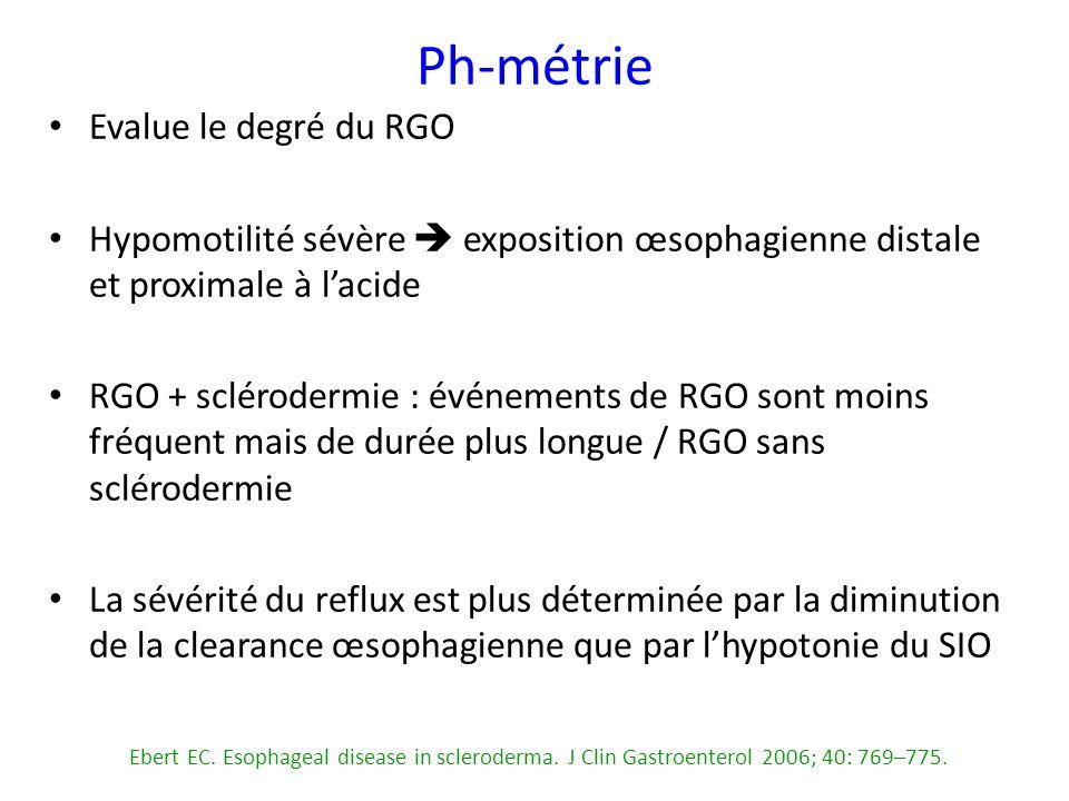 Evalue le degré du RGO Hypomotilité sévère exposition œsophagienne distale et proximale à lacide RGO + sclérodermie : événements de RGO sont moins fré