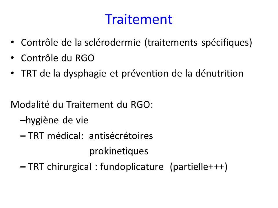 Traitement Contrôle de la sclérodermie (traitements spécifiques) Contrôle du RGO TRT de la dysphagie et prévention de la dénutrition Modalité du Trait