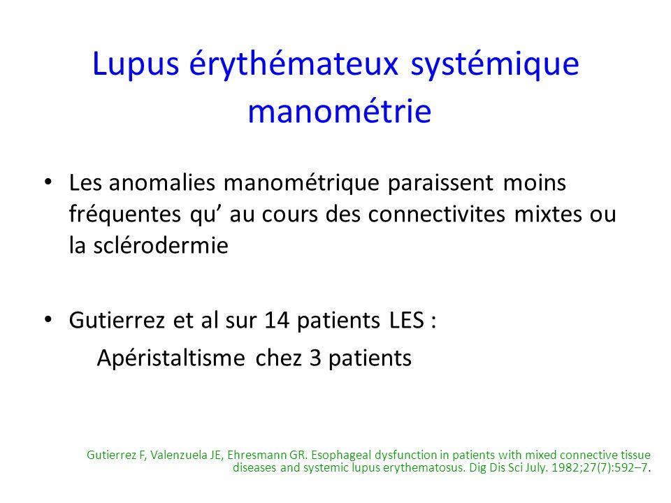 Les anomalies manométrique paraissent moins fréquentes qu au cours des connectivites mixtes ou la sclérodermie Gutierrez et al sur 14 patients LES : A