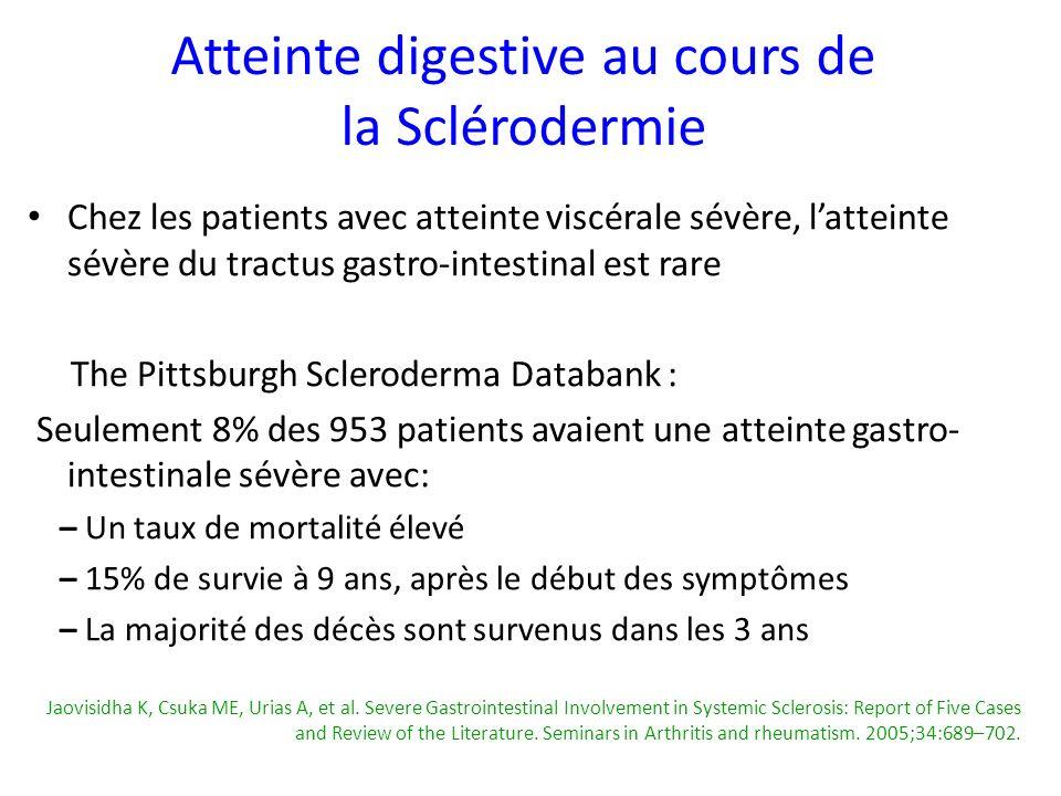 Chez les patients avec atteinte viscérale sévère, latteinte sévère du tractus gastro-intestinal est rare The Pittsburgh Scleroderma Databank : Seuleme