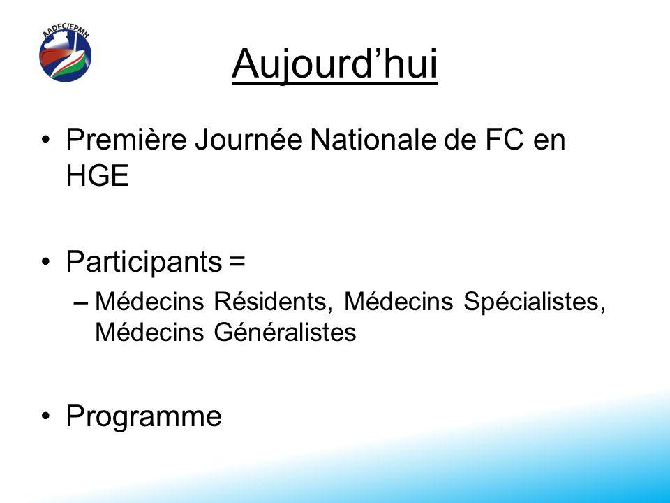 Aujourdhui Première Journée Nationale de FC en HGE Participants = –Médecins Résidents, Médecins Spécialistes, Médecins Généralistes Programme