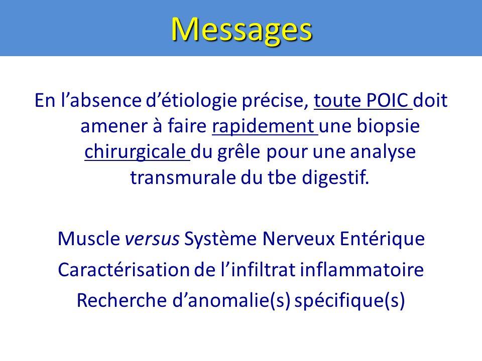 Messages En labsence détiologie précise, toute POIC doit amener à faire rapidement une biopsie chirurgicale du grêle pour une analyse transmurale du tbe digestif.