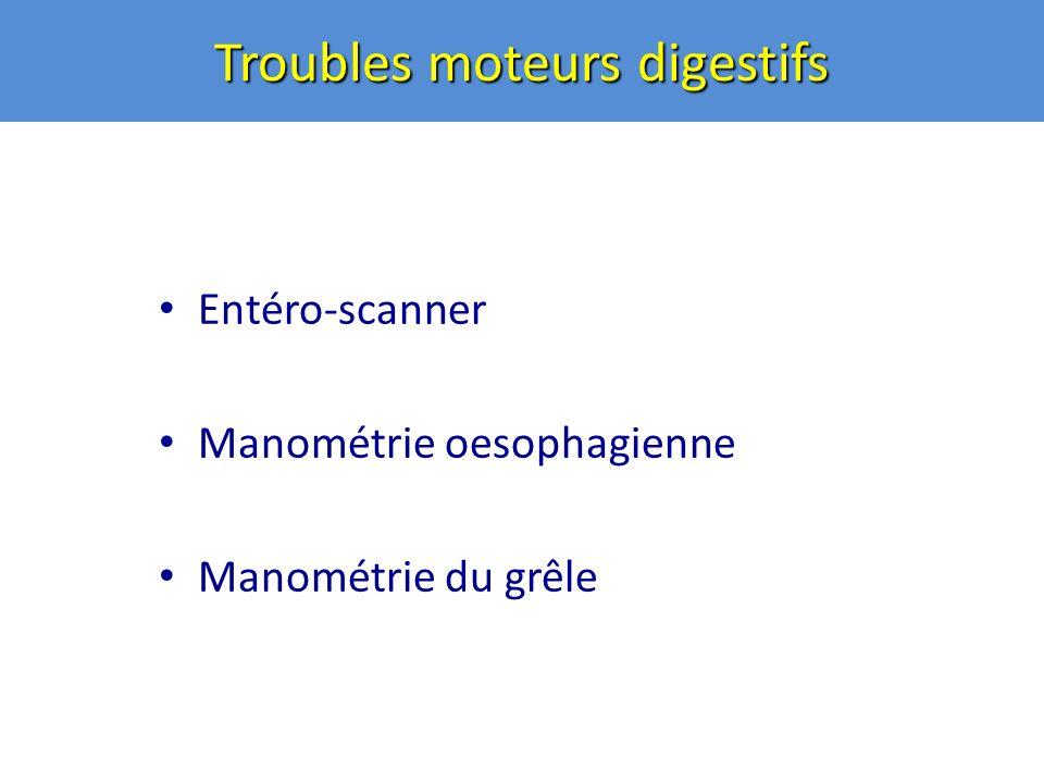 Troubles moteurs digestifs Entéro-scanner Manométrie oesophagienne Manométrie du grêle