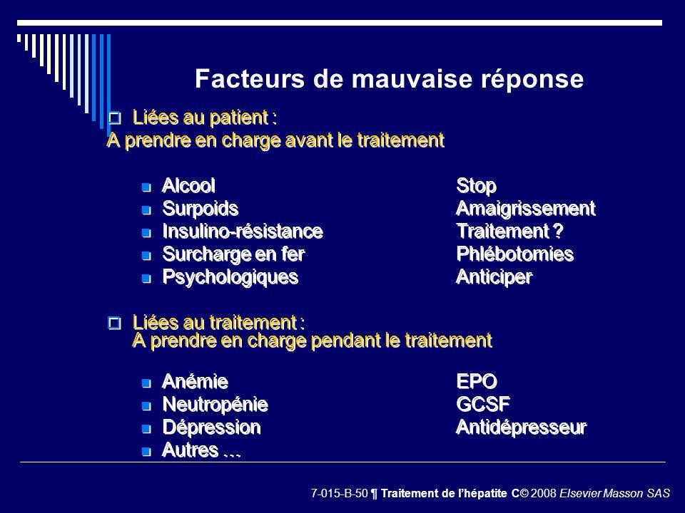 Facteurs de mauvaise réponse Liées au patient : A prendre en charge avant le traitement AlcoolStop SurpoidsAmaigrissement Insulino-résistanceTraitemen
