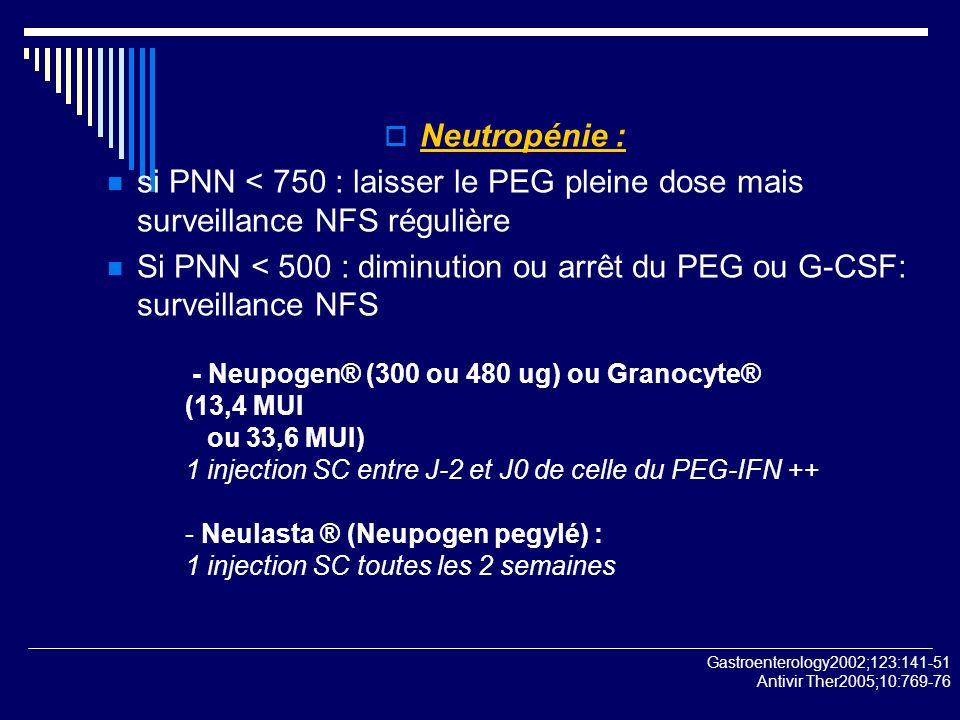 Neutropénie : si PNN < 750 : laisser le PEG pleine dose mais surveillance NFS régulière Si PNN < 500 : diminution ou arrêt du PEG ou G-CSF: surveillan