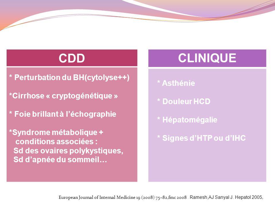 * Perturbation du BH(cytolyse++) *Cirrhose « cryptogénétique » * Foie brillant à léchographie *Syndrome métabolique + conditions associées : Sd des ov