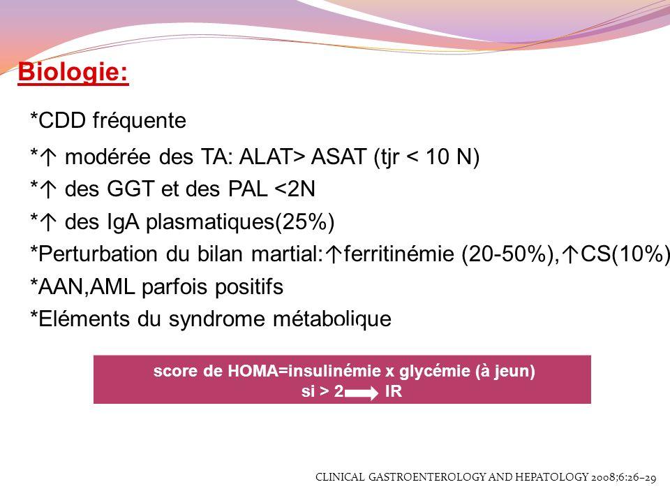Biologie: *CDD fréquente * modérée des TA: ALAT> ASAT (tjr < 10 N) * des GGT et des PAL <2N * des IgA plasmatiques(25%) *Perturbation du bilan martial