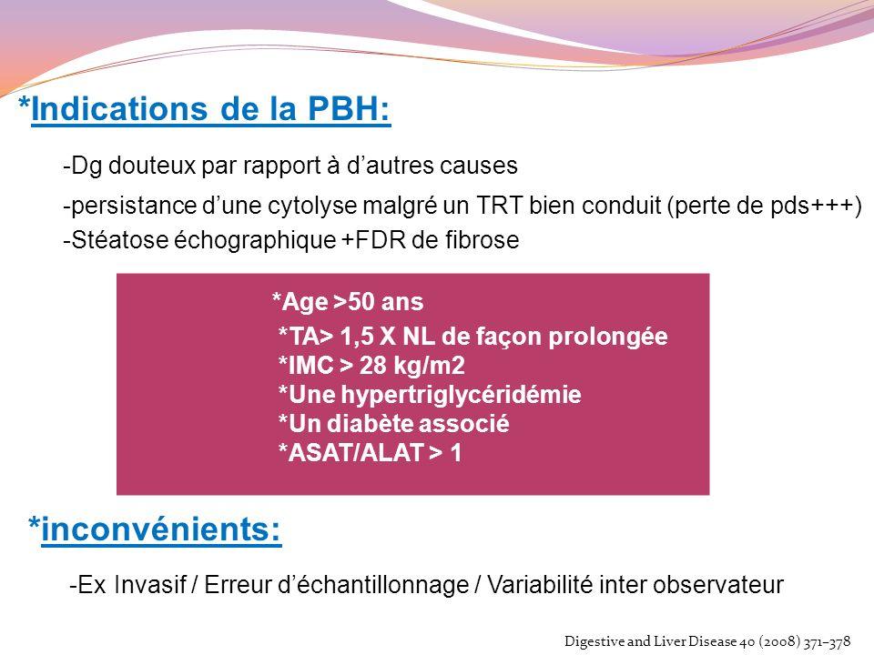 *Indications de la PBH: -Dg douteux par rapport à dautres causes -persistance dune cytolyse malgré un TRT bien conduit (perte de pds+++) -Stéatose éch