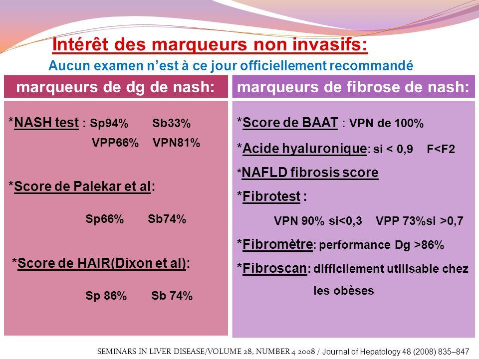 Intérêt des marqueurs non invasifs: Aucun examen nest à ce jour officiellement recommandé *NASH test : Sp94% Sb33% VPP66% VPN81% *Score de Palekar et