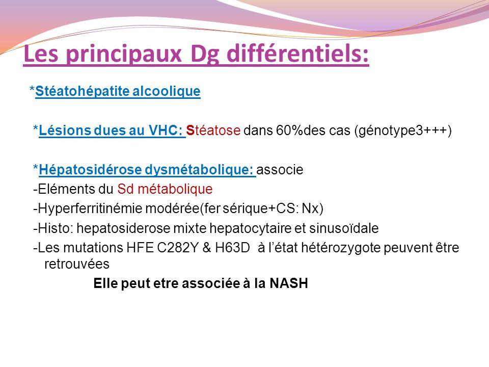 Les principaux Dg différentiels: *Stéatohépatite alcoolique *Lésions dues au VHC: Stéatose dans 60%des cas (génotype3+++) *Hépatosidérose dysmétaboliq