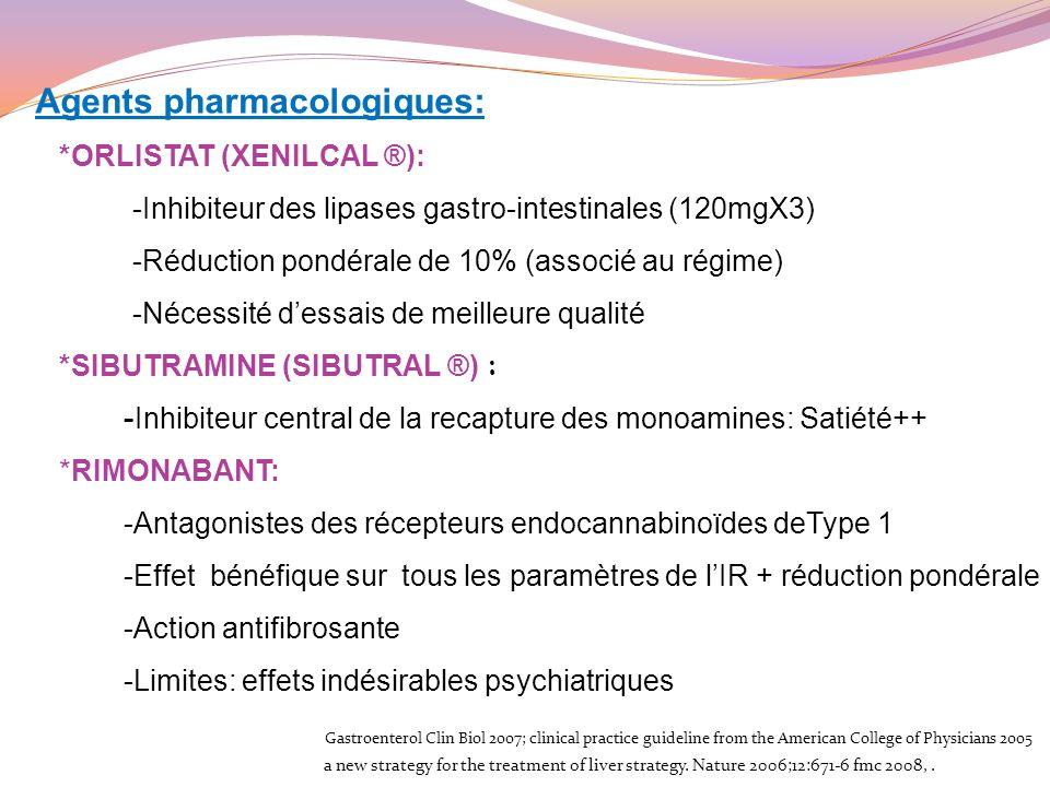 Agents pharmacologiques: *ORLISTAT (XENILCAL ®): -Inhibiteur des lipases gastro-intestinales (120mgX3) -Réduction pondérale de 10% (associé au régime)