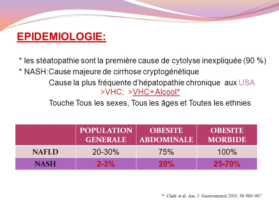 EPIDEMIOLOGIE: * les stéatopathie sont la première cause de cytolyse inexpliquée (90 %) * NASH:Cause majeure de cirrhose cryptogénétique Cause la plus