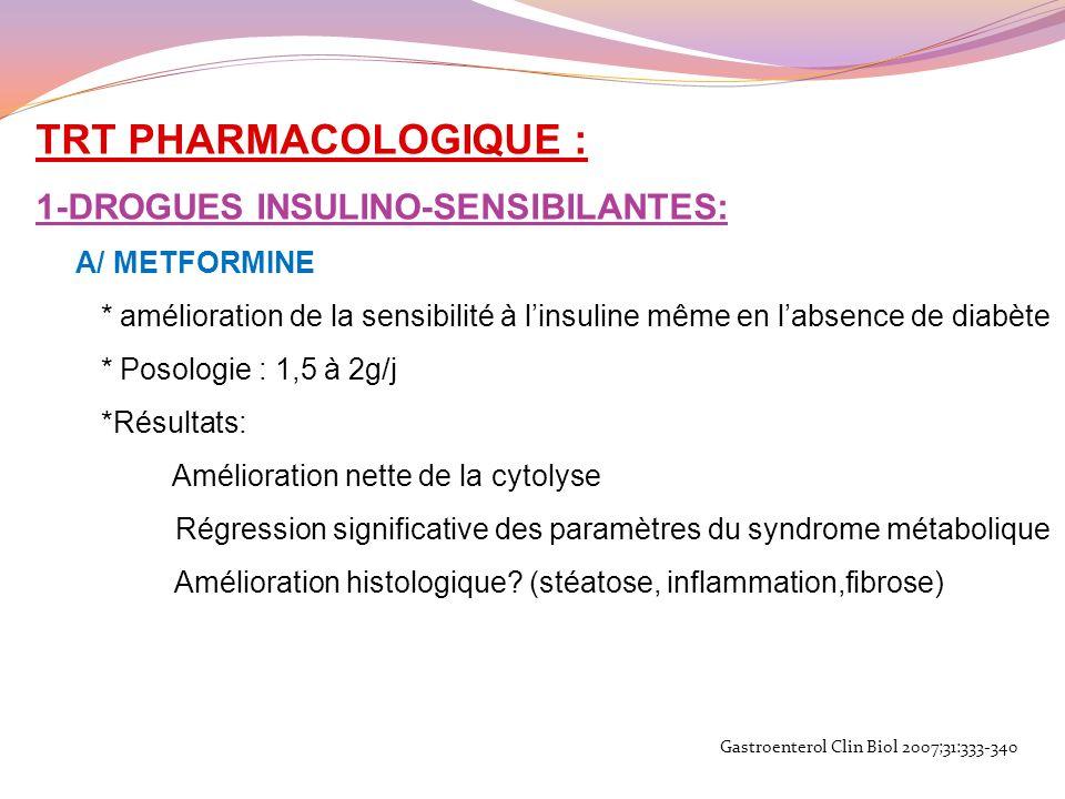 TRT PHARMACOLOGIQUE : 1-DROGUES INSULINO-SENSIBILANTES: A/ METFORMINE * amélioration de la sensibilité à linsuline même en labsence de diabète * Posol