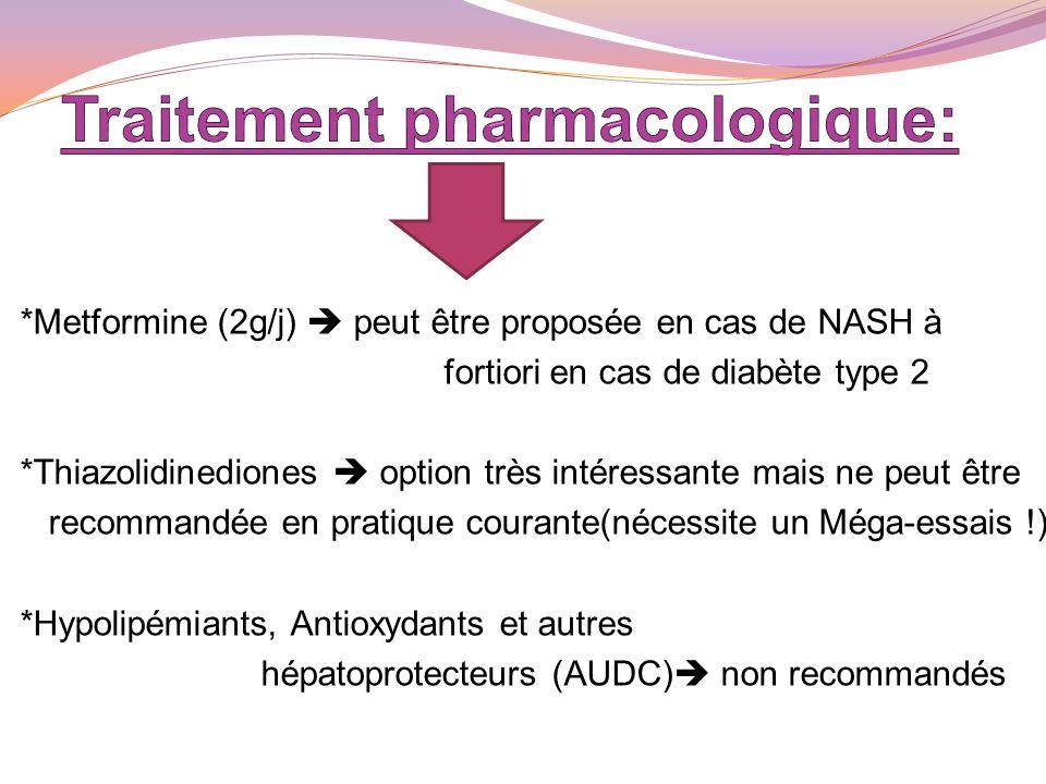 *Metformine (2g/j) peut être proposée en cas de NASH à fortiori en cas de diabète type 2 *Thiazolidinediones option très intéressante mais ne peut êtr