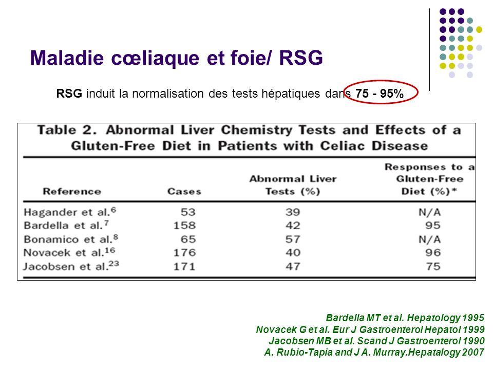 Maladie cœliaque et foie/ RSG RSG induit la normalisation des tests hépatiques dans 75 - 95% Bardella MT et al. Hepatology 1995 Novacek G et al. Eur J