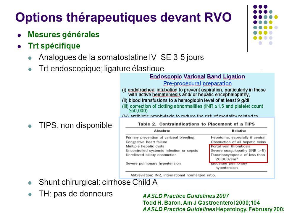 Options thérapeutiques devant RVO Mesures générales Trt spécifique Analogues de la somatostatine IV SE 3-5 jours Trt endoscopique; ligature élastique
