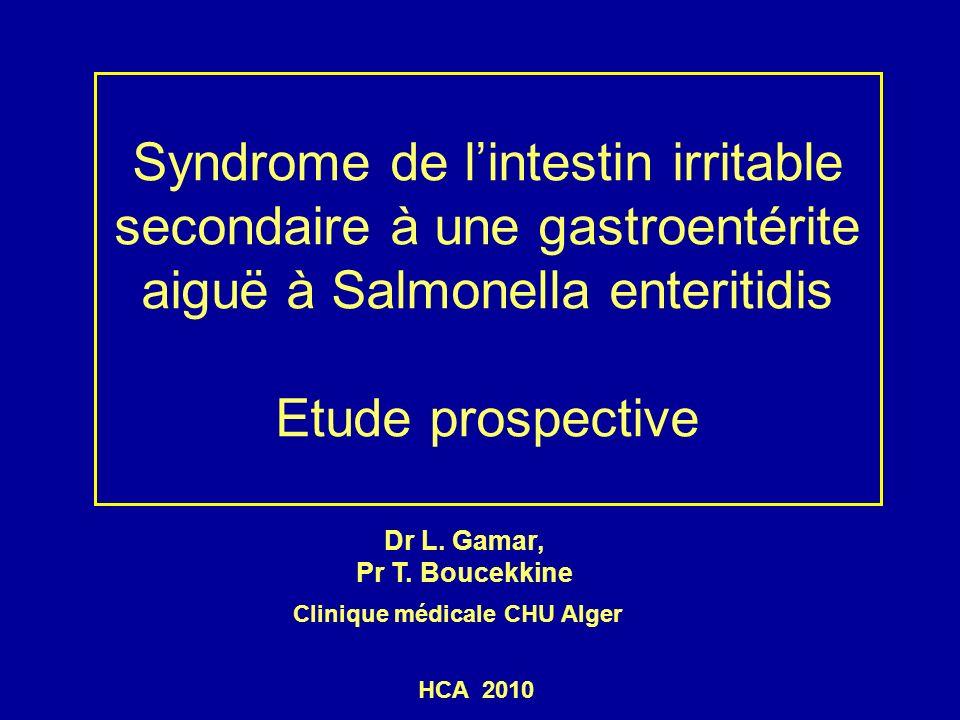 CONCLUSIONS Les résultats de ce travail sont en faveur du rôle de linfection intestinale aigue dans la genèse de certains syndromes de lintestin irritable Le SIIPI est plus fréquent que dans la population générale alors que la prévalence des TFI non spécifiques est identique dans les deux groupes.