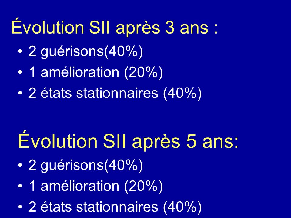 Évolution SII après 3 ans : 2 guérisons(40%) 1 amélioration (20%) 2 états stationnaires (40%) Évolution SII après 5 ans: 2 guérisons(40%) 1 améliorati