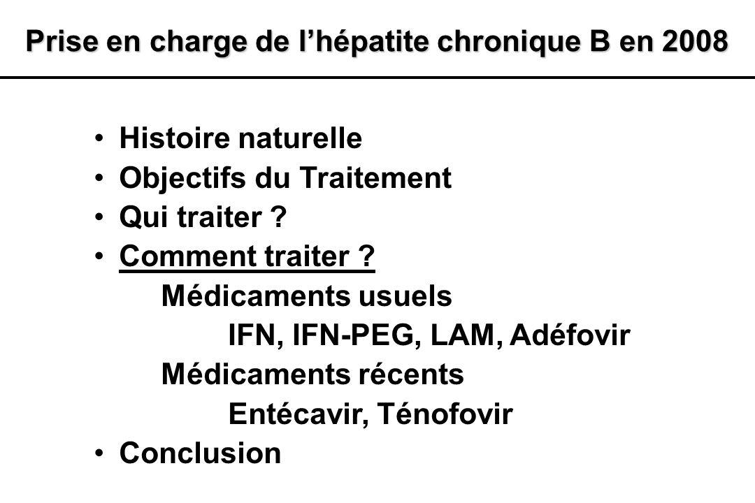 Histoire naturelle Objectifs du Traitement Qui traiter ? Comment traiter ? Médicaments usuels IFN, IFN-PEG, LAM, Adéfovir Médicaments récents Entécavi