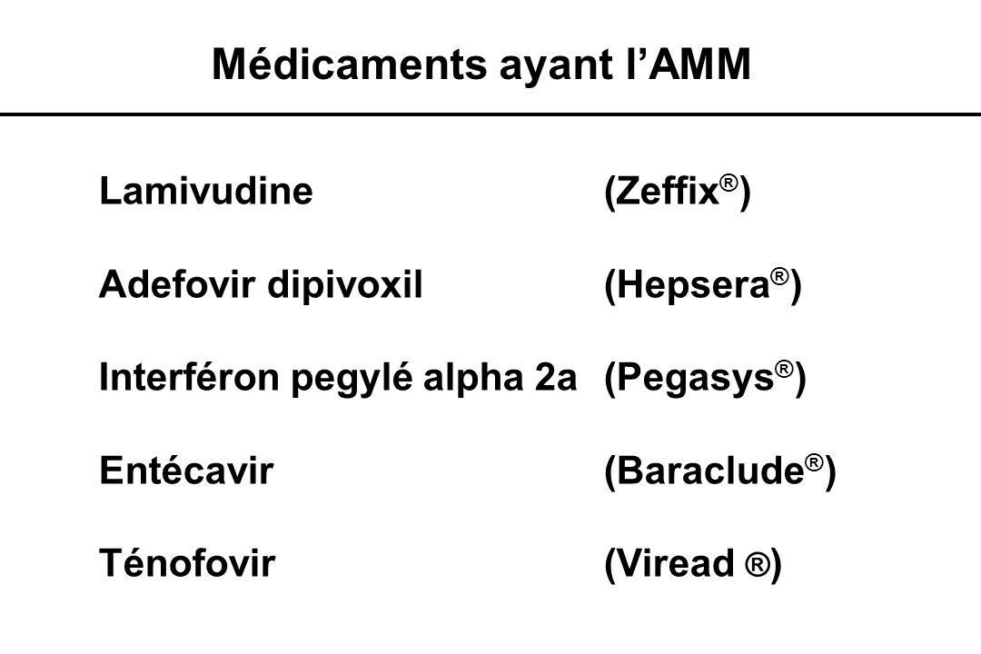 Lamivudine (Zeffix ® ) Adefovir dipivoxil (Hepsera ® ) Interféron pegylé alpha 2a (Pegasys ® ) Entécavir(Baraclude ® ) Ténofovir(Viread ® ) Médicament