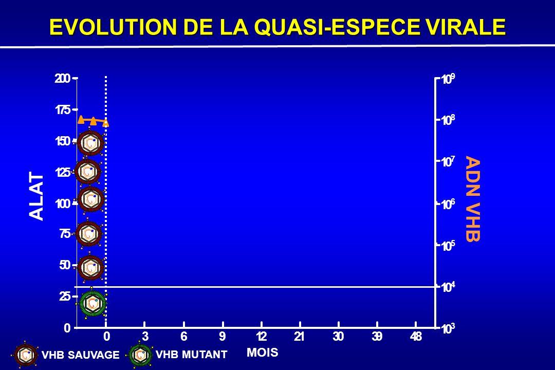 0 3691221303948 0 25 50 75 100 125 150 175 200 10 3 10 4 10 5 10 6 10 7 10 8 10 9 ALAT ADN VHB MOIS EVOLUTION DE LA QUASI-ESPECE VIRALE VHB SAUVAGE VH