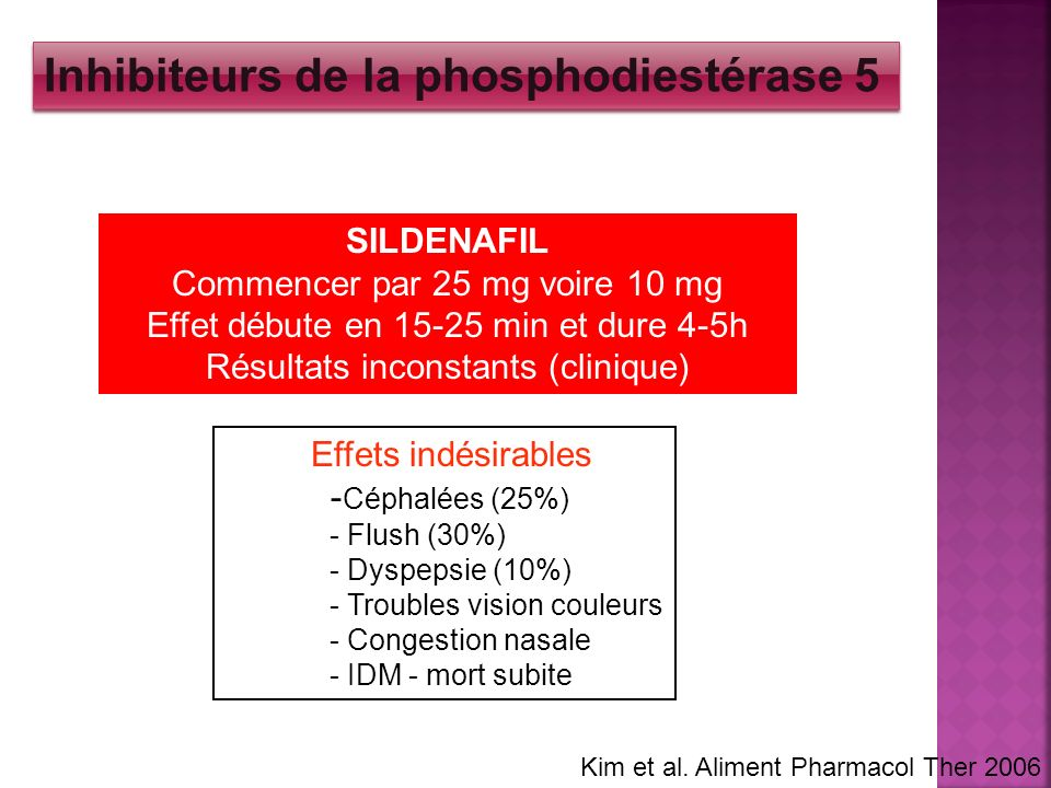 SILDENAFIL Commencer par 25 mg voire 10 mg Effet débute en 15-25 min et dure 4-5h Résultats inconstants (clinique) Effets indésirables - Céphalées (25
