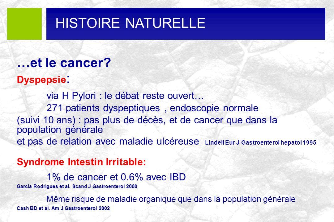 …et le cancer? Dyspepsie : via H Pylori : le débat reste ouvert… 271 patients dyspeptiques, endoscopie normale (suivi 10 ans) : pas plus de décès, et