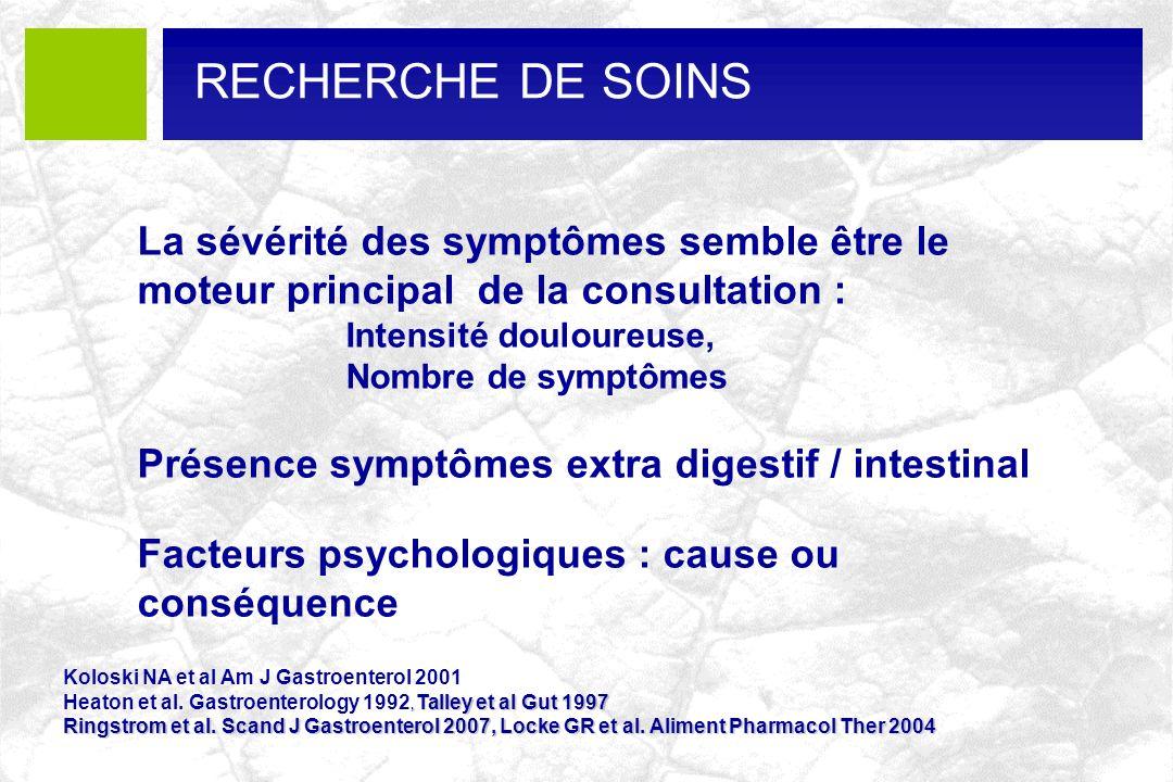 La sévérité des symptômes semble être le moteur principal de la consultation : Intensité douloureuse, Nombre de symptômes Présence symptômes extra dig
