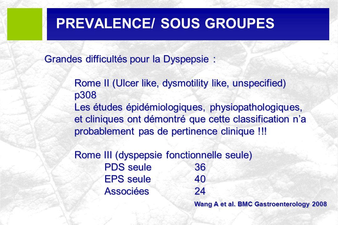 PREVALENCE/ SOUS GROUPES Grandes difficultés pour la Dyspepsie : Rome II (Ulcer like, dysmotility like, unspecified) p308 Les études épidémiologiques,