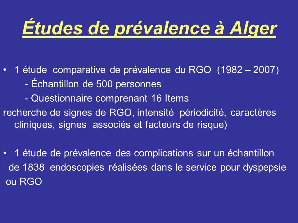 Études de prévalence à Alger 1 étude comparative de prévalence du RGO (1982 – 2007) - Échantillon de 500 personnes - Questionnaire comprenant 16 Items