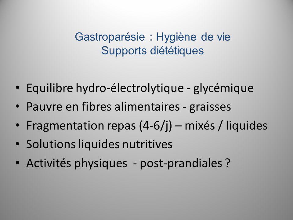 Gastroparésie : Hygiène de vie Supports diététiques Equilibre hydro-électrolytique - glycémique Pauvre en fibres alimentaires - graisses Fragmentation