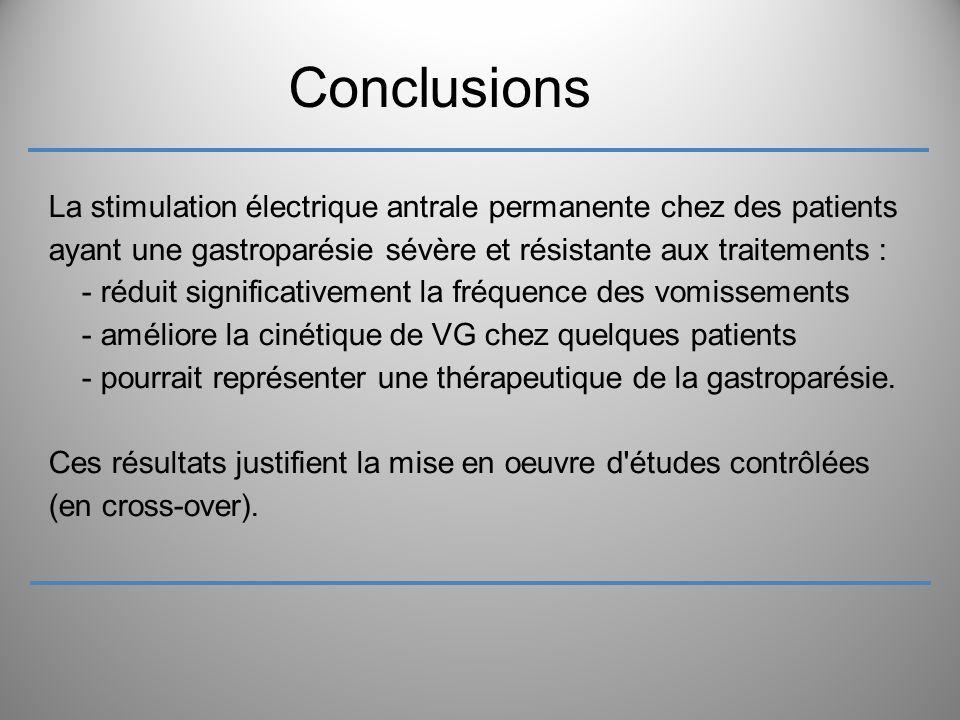 Conclusions La stimulation électrique antrale permanente chez des patients ayant une gastroparésie sévère et résistante aux traitements : - réduit sig