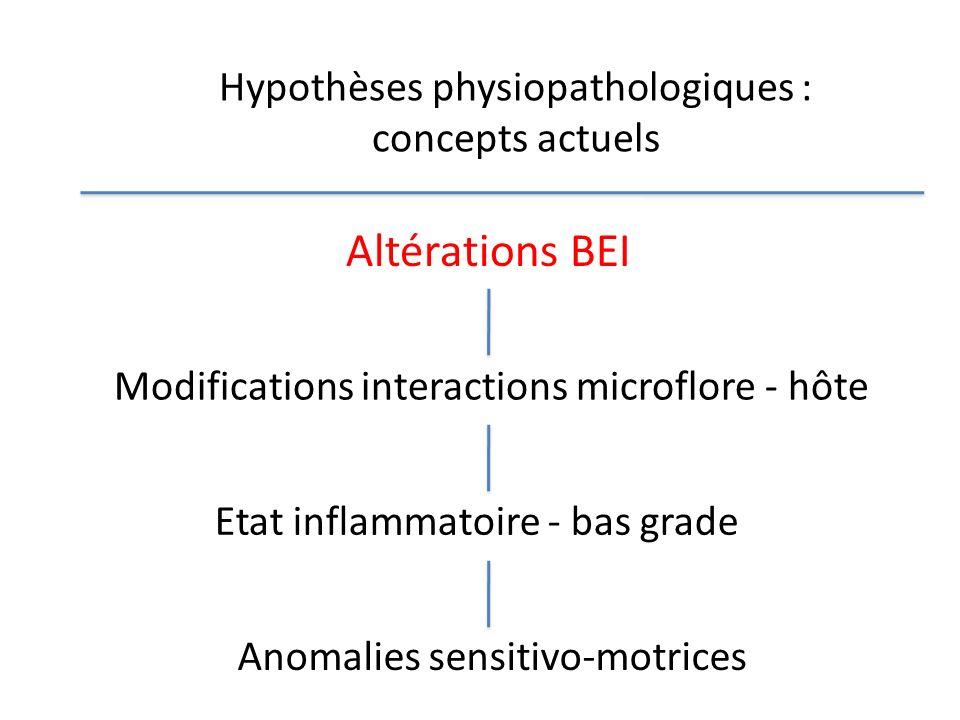 Hypothèses physiopathologiques : concepts actuels Altérations BEI Modifications interactions microflore - hôte Etat inflammatoire - bas grade Anomalie