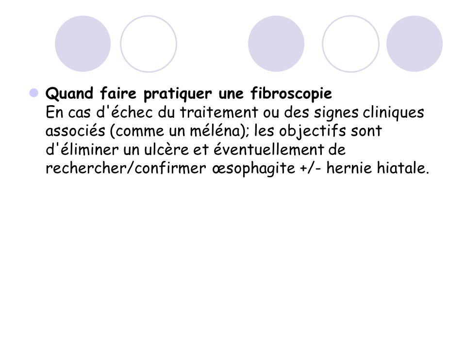 Quand faire pratiquer une fibroscopie En cas d'échec du traitement ou des signes cliniques associés (comme un méléna); les objectifs sont d'éliminer u