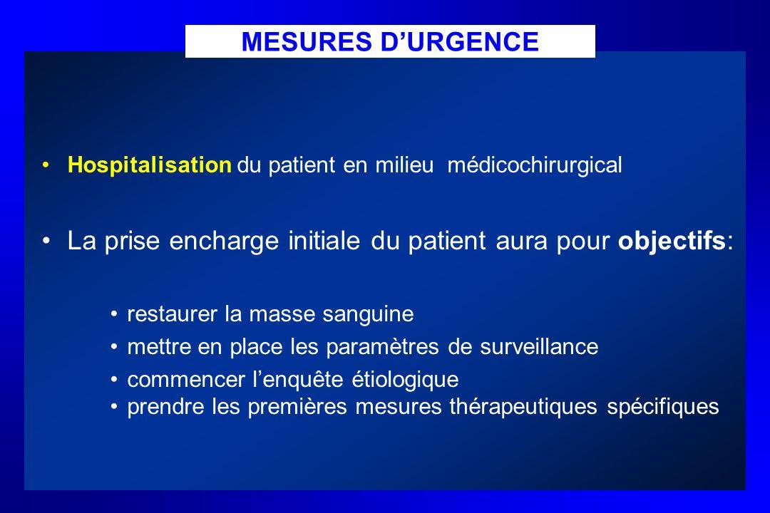 MESURES DURGENCE Hospitalisation du patient en milieu médicochirurgical La prise encharge initiale du patient aura pour objectifs: restaurer la masse