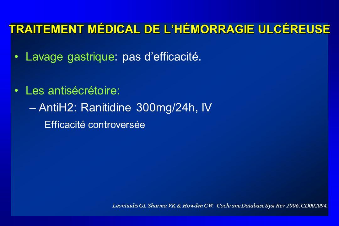 TRAITEMENT MÉDICAL DE LHÉMORRAGIE ULCÉREUSE Lavage gastrique: pas defficacité. Les antisécrétoire: –AntiH2: Ranitidine 300mg/24h, IV Efficacité contro