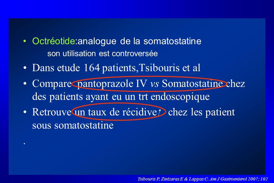 Octréotide:analogue de la somatostatine son utilisation est controversée Dans etude 164 patients,Tsibouris et al Compare pantoprazole IV vs Somatostat