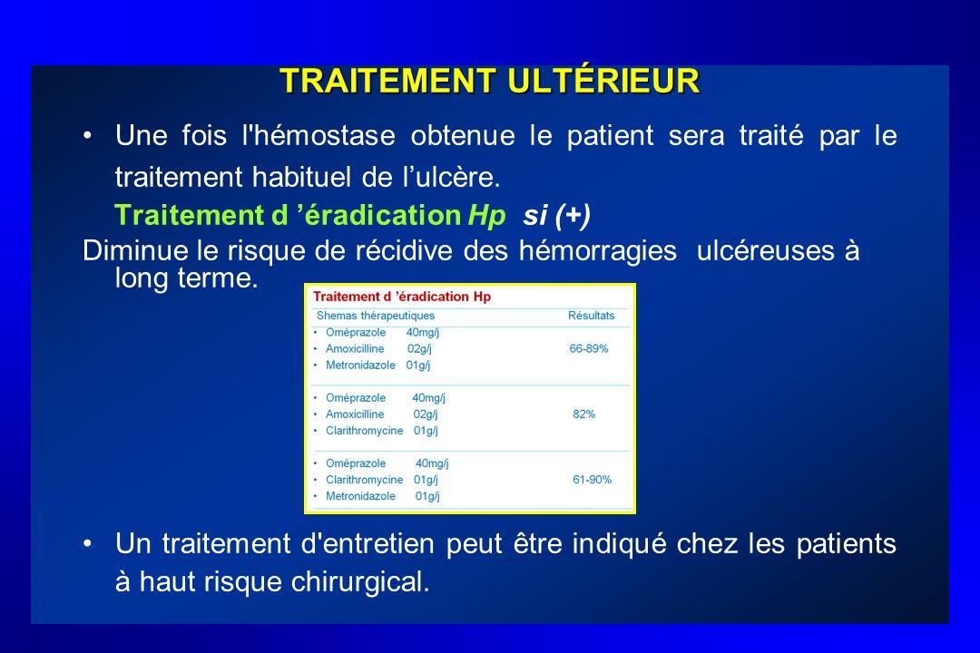 TRAITEMENT ULTÉRIEUR Une fois l'hémostase obtenue le patient sera traité par le traitement habituel de lulcère. Traitement d éradication Hp si (+) Dim