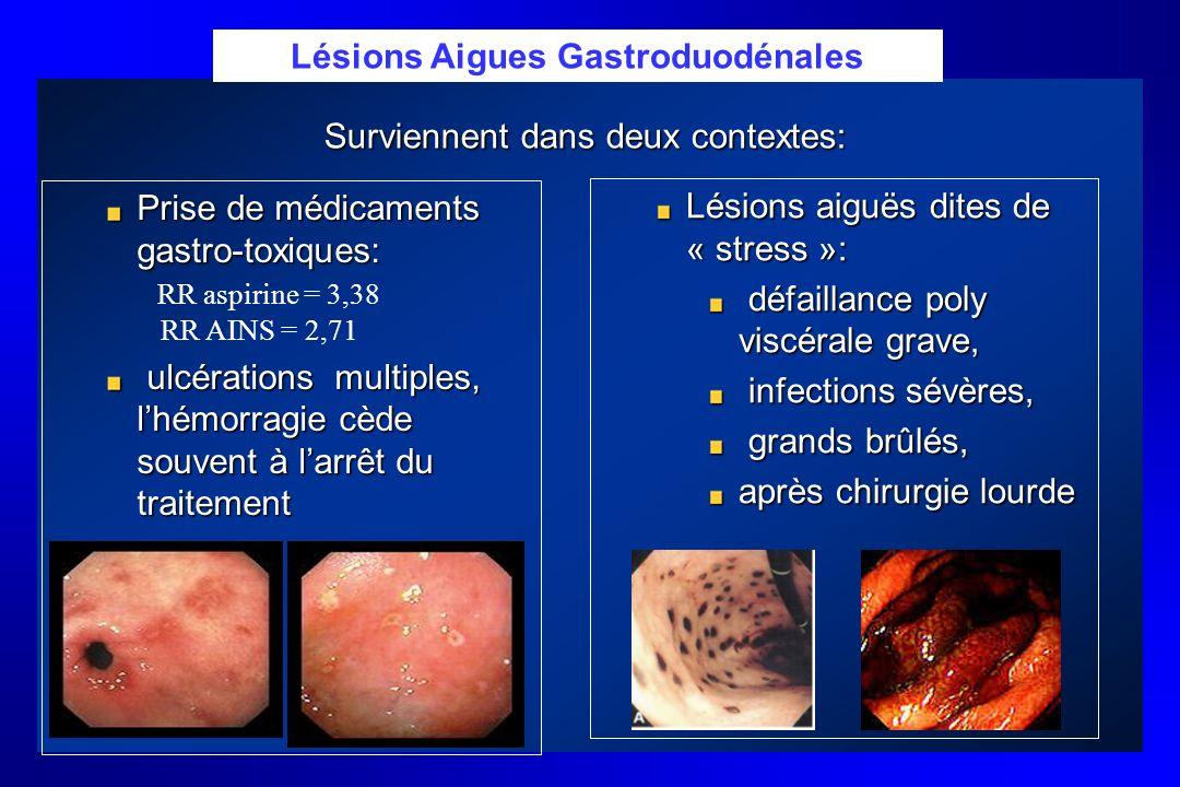 Lésions aiguës dites de « stress »: défaillance poly viscérale grave, défaillance poly viscérale grave, infections sévères, infections sévères, grands