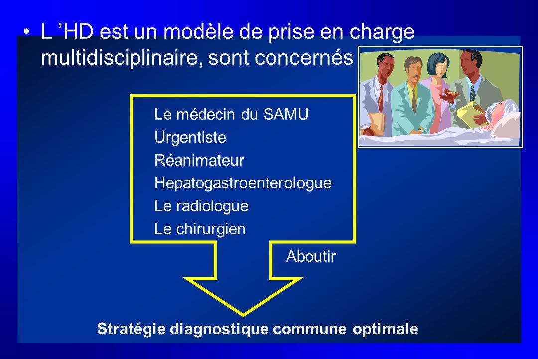 L HD est un modèle de prise en charge multidisciplinaire, sont concernés Le médecin du SAMU Urgentiste Réanimateur Hepatogastroenterologue Le radiolog