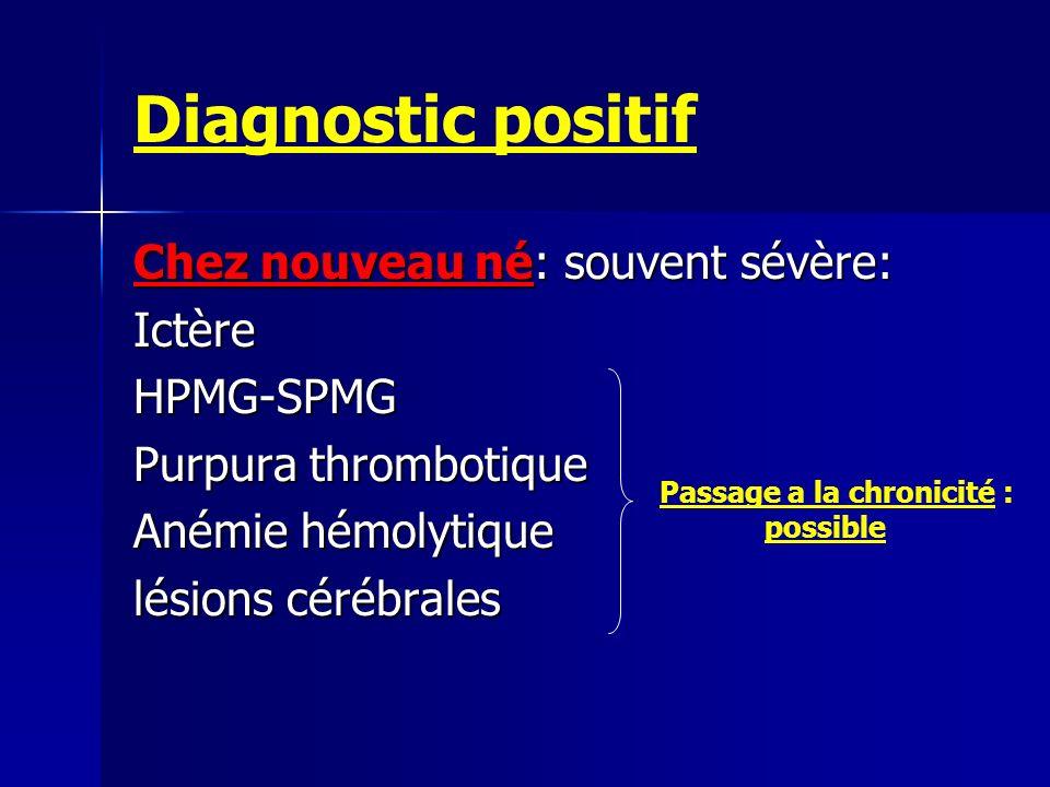 Diagnostic positif Chez nouveau né: souvent sévère: IctèreHPMG-SPMG Purpura thrombotique Anémie hémolytique lésions cérébrales Passage a la chronicité