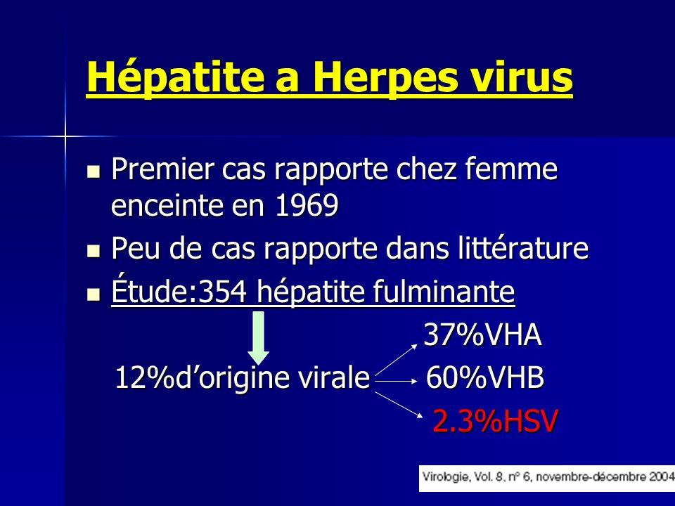 Hépatite a Herpes virus Premier cas rapporte chez femme enceinte en 1969 Premier cas rapporte chez femme enceinte en 1969 Peu de cas rapporte dans lit