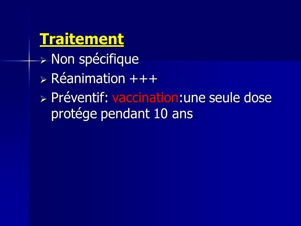 Traitement Non spécifique Non spécifique Réanimation +++ Réanimation +++ Préventif: vaccination:une seule dose protége pendant 10 ans Préventif: vacci