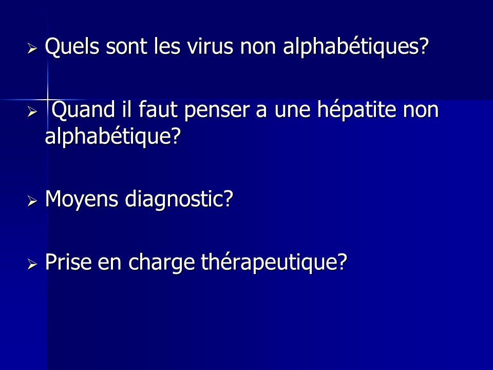 Quels sont les virus non alphabétiques? Quels sont les virus non alphabétiques? Quand il faut penser a une hépatite non alphabétique? Quand il faut pe