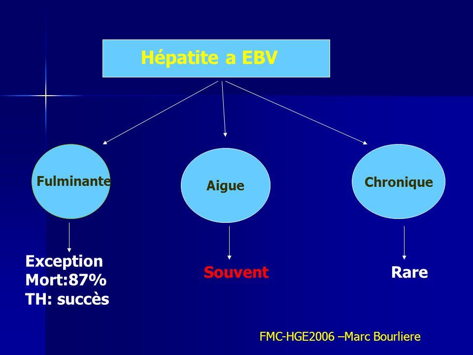 Diagnostic positif Diagnostic positif Clinique: Fièvre Angine Pharyngite MNI ADPcervicales ADP axillaires Dlr abdominales HPMG SPMG Ictere11% CPC:rupture rate Méningite Encéphalite péricardite Biologie Cytolyse (max S2-S4) Cholestase Anémie hémolytique lymphocytose Sérologie MNI test Ac anti VCA IgM IgG:2-3mois PCR Sang Tissu Hybridation in situ FMC-HGE2006 –Marc Bourliere PBF: PBF Architecture conservée Infiltrat a cellule mononuclées portale et sinusoïdal Nécrose hepatocytaire Prolifération cellules de Kuppfer MEE:Ag nucléaire EBV