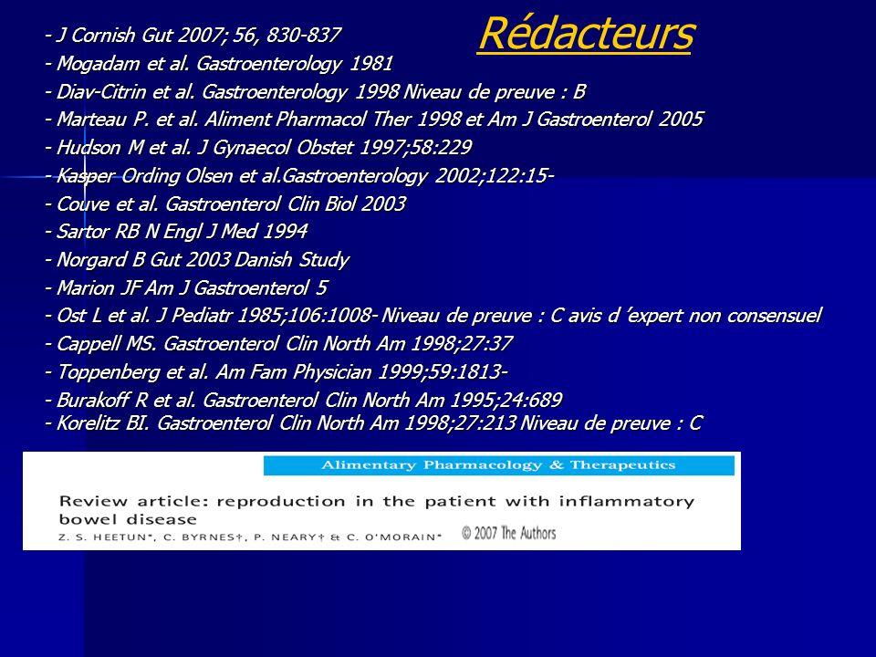 Rédacteurs - J Cornish Gut 2007; 56, 830-837 - Mogadam et al.