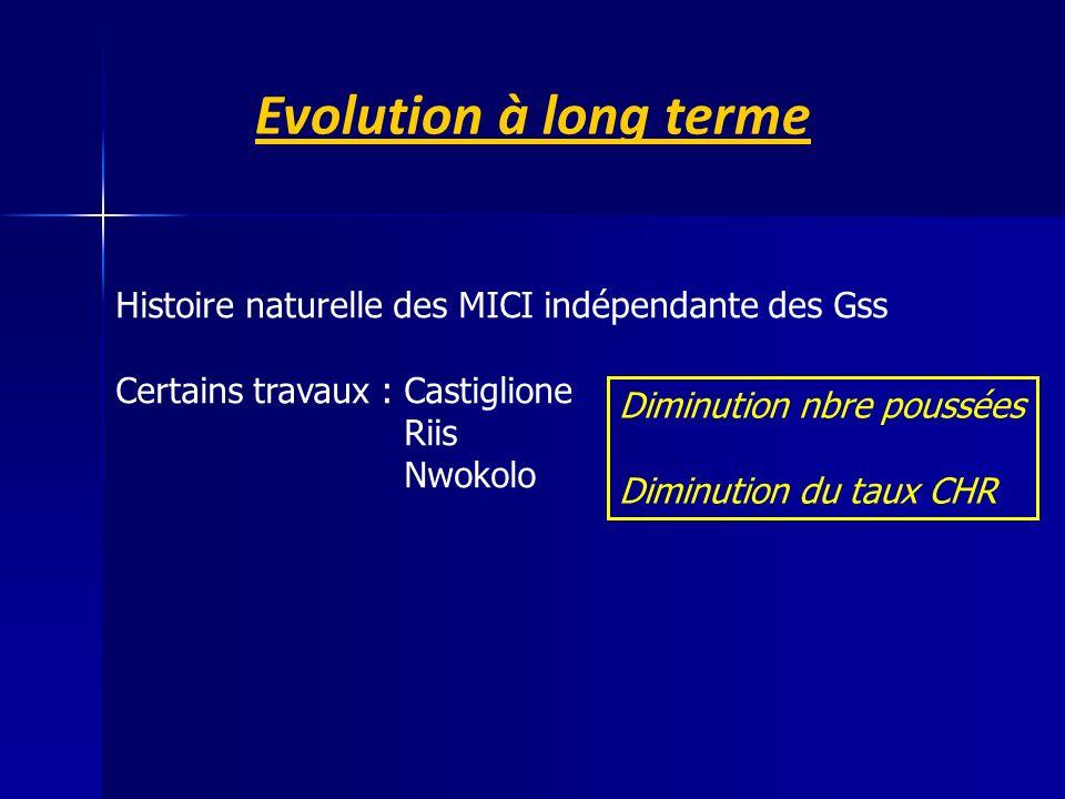 Evolution à long terme Histoire naturelle des MICI indépendante des Gss Certains travaux : Castiglione Riis Nwokolo Diminution nbre poussées Diminution du taux CHR