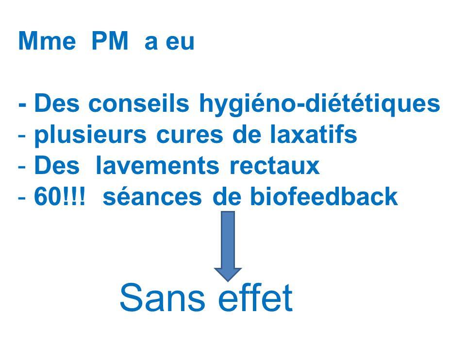 Mme PM a eu - Des conseils hygiéno-diététiques - plusieurs cures de laxatifs - Des lavements rectaux - 60!!! séances de biofeedback Sans effet
